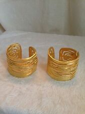 NEW Kenneth Jay Lane - SET OF 2 - GOLD TONE SLAVE CUFFS Hinged Bracelets