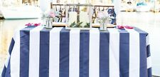 "lovemyfabric Satin 2 Inch Navy Blue & White Striped Tablecloth 58""X120"" Inch"