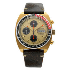 Vintage Sicura Chronograph Day/Date Brown Leather Swiss Automatic Men's Watch