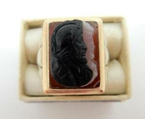 Men's Ostby Barton Style Ring, Carnelian Stone Double Cameo, 10kt Gold,   #F41