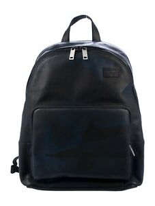 JACK SPADE Backpack Men Leather Black and Blue Camo Dots Retail $500