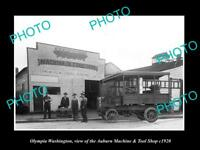 OLD LARGE HISTORIC PHOTO OF OLYMPIA WASHINGTON, THE AUBURN TOOL SHOP c1920