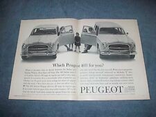 "1960 Peugeot 403 Sedan and Wagon Vintage 2pg Ad ""Which Peugeot 403 For You?"""