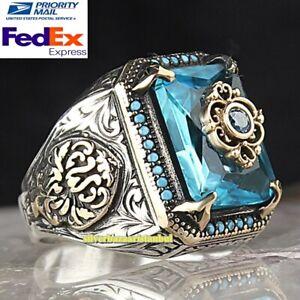 Most Popular Ottoman Aquamarine Handmade 925 Sterling Silver Mens Ring All Sizes