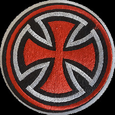 MALTESE CROSS IRON ON EMBROIDERED PATCH INDEPENDENT SKATE BIKER MC