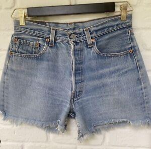 Vintage Womens Blue Levi's 501 Button Fly Cotton Denim Cut Off Shorts Tag 32(30)