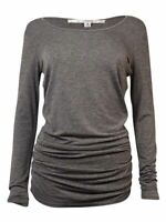 Studio M Women's Ruched Long Sleeves Knit Top (S, Heather Grey)