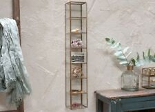 60cm Gold Brass Glass Wall Mounted Shelving Storage Display Unit Nkuku Bequai