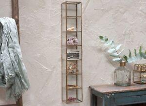 60cm Gold Brass Glass Wall Mounted Shelving Storage Display Unit Nkuku Bequai