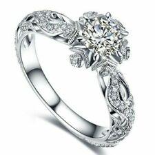 Exquisite 0,8 quilates blanco zafiro diamante 925 señora anillo de plata nuevo, top regalo