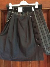 High Tech by Claire Campbell black skirt W/ Belt Italy Polyamide Elastane SZ 10