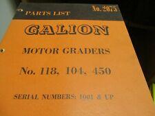 Galion 118 104 450 Motor Graders Parts Book Manual
