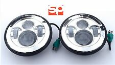 "LAND ROVER DEFENDER LED PAIR HEADLIGHTS 7"" QUALITY E MARKED RHD CHROME 90 110"