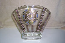 "VINTAGE GLASS SALAD - FRUIT SERVING BOWL ""A ROSE IS A ROSE IS A ..."""