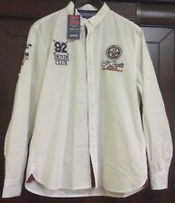 Men's Long Sleeve White Button Shirt Embroidered slim fit size XL cotton