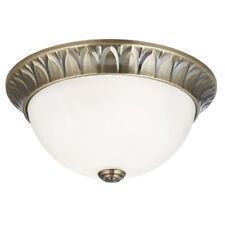 Searchlight 4148-28AB Antique Brass 2 Light Flush Fitting Frosted Glass Inner