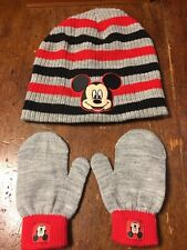 Disney Mickey Mouse Boys Winter Hat Beanie Mittens Gloves Toddlers Gray 2-5T