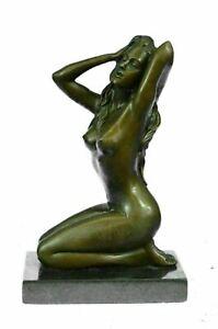 Vintage Bronze Nude Woman Female Home & Garden Statue Art Sculpture Nouveau Gift