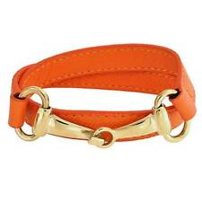Orange Leather Horse Bit Cow Equestrian Wrap Bracelet Gold Plate Stainless Steel