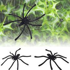 20X Black Plastic Spiders Halloween Party Joking Realistic Toy Prop Decoration