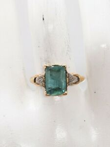 Antique 1930s DECO $4000 2.50ct Colombian Emerald Diamond 14k Yellow Gold Ring