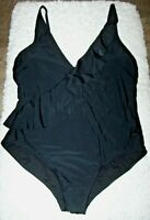 Kona Sol One Piece Black Swimsuit Bathing Suit XL Ruffle Front High Coverage NWT