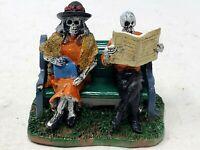 Lemax Spooky Town Halloween skeleton couple reading newspaper  Dept 56