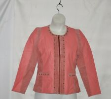 Sharif Couture Jacket With Suede And Studded Trim Size M Coral/Pink