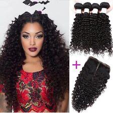 300g/3bundles virgin malaysian kinky curly human hair 12,14,16 with closure 10