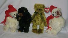 Ty Attic Treasures - Fern - Green Bear, Ivan - Black Bear, 2 Peppermint Polar