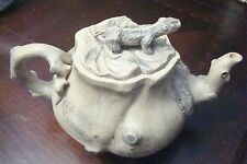 Antique Chinese Clay bark like tea pot, lizzard on top stamped on back[*]