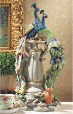 "Garden Decor Statues Peacocks Resin Hand Painted 19"" Patio Yard Lawn Ornament"