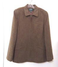 Ralph Lauren Wool Jacket Blazer 12 Brown Tweed Zip Front