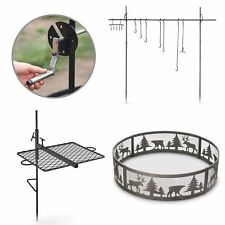 Outdoor Campfire Cooking Bundle w/ Swing Grill Roasting Spit & Campfire Ring