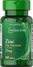 Puritan's Pride Zinc 25 mg 100 Tablets