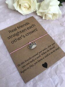 💜 Real Friends Crown friendship Wish bracelet/anklet Her Love Gift Present💜