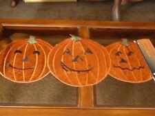 "Halloween Table Runner Orange Glitter Jack-O-Lanterns Pumpkins 36"" NEW Amazing!"