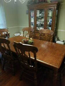 dining table set for 6 china cabinet (solid oak)