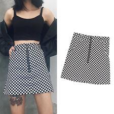 Women Mini Plaid Slim Harajuku Vintage Skirt Black White Circle Zipper Summer