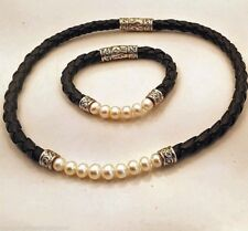 Freshwater Pearl Choker Black Leather Necklace & Bracelet Braided Silver-tone