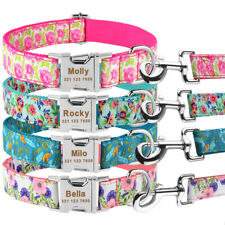 Floral Dog Collar Leash Set Personalized Custom Engraved Name Durable Nylon XS-L