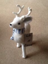 Christmas Snow Animal Statue Decoration - Sm Reindeer + Scarf *COLLECTION ONLY*