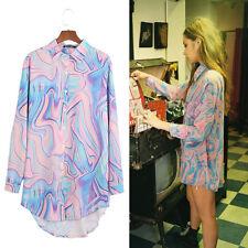 Women Rainbow Paisley Chiffon Shirt Blouse Top Fashion Casual Unique Design 1 Pc