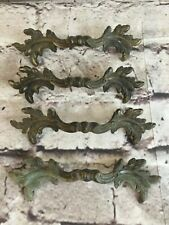 Vintage French Provincial Brass Dresser Drawer Handles Set of 4 Shabby Chic