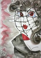 Malerei A3 PAINTING contemporary art fashion illustration gothic vampire frau om
