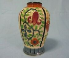 "VINTAGE JAPAN TAN BLUE MULTI COLORS FLORAL SMALL 5"" BUD VASE"