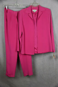 DUE PER DUE Pink Silk 2 Piece Suit Jacket and Pants Size 6P NWT (1SK1717)