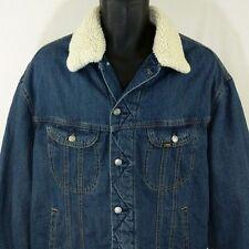 Lee Denim Trucker Jacket Sherpa Lined Removable Collar Blue Jean Mens Size XL