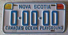 Nova Scotia 1974 SAMPLE License Plate SUPERB QUALITY # 0-00-00