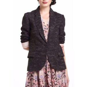 NWT Anthropologie Cartonnier Dashes Blazer in Noir Black Tweed Knit Jacket S $98